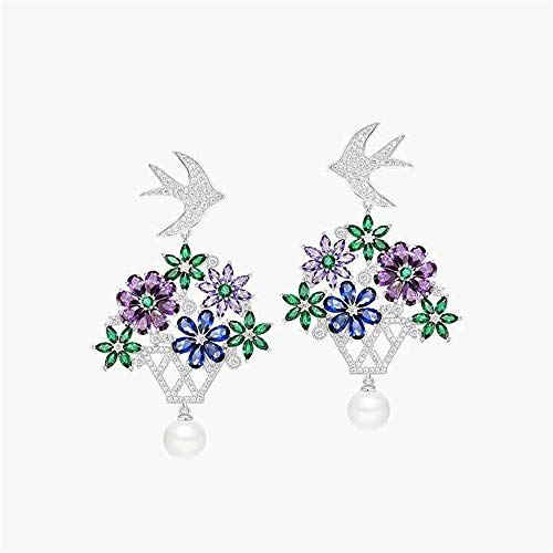 - FeliciaJuan Women's Accessory Elegant Teardrop Shaped Long Da S925 Sterling Silver Micro-Inlaid Iris Flower Earrings Suitful Any Occasion,You Can Be Versatile,Everyday,Cocktail Party,Etc.