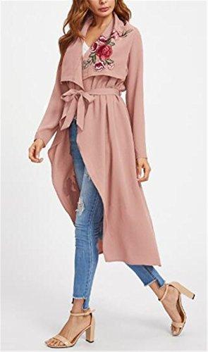 Acogedor Coat Casual Largo Abrigos AILIENT Pink Outwear para Bordada Irregular Mujer Hipster Cardigan Manga Dobladillo Flor Larga Mujer 1UgPWqP7