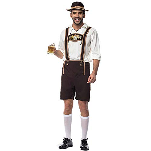 Men's Bavarian Oktoberfest Costume Traditional German Bavarian Beer Male Adult Cosplay Carnival Halloween Octoberfest Festival Party Clothes (S, White/Brown)