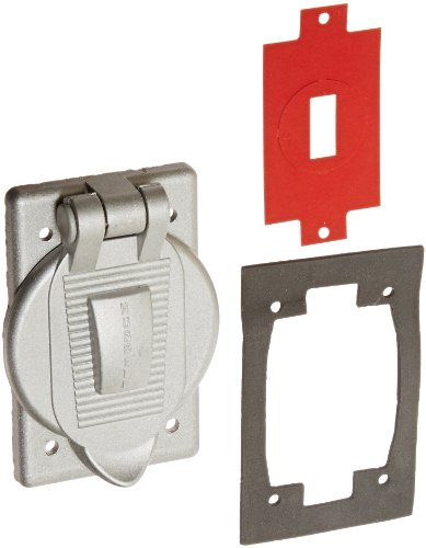 """Hubbell Wiring Systems HBL7420 Cast Aluminum FS/FD Mount Wall Plate with WDL""""Closed"""" Weatherproof Lift Cover, 1 Gang, 1-13/32"""" Opening"""