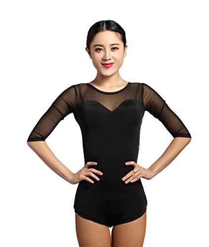 GloriaDance G1014 Latin Ballroom Modern Dance Professional Translucent Yarn Connected Tops Leotard