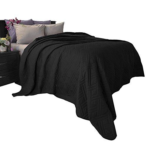 Home 66-40-K-BL Lavish Solid Color Bed Quilt-King-Black