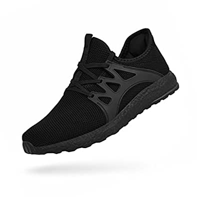 Porclay Men's Sneakers Lightweight Breathable Mesh Athletic Running Walking Sport Shoes Black Size: 7 US