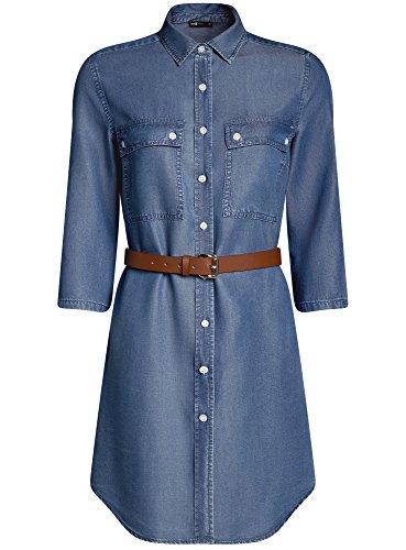 avec de oodji 7500w en Bleu Ultra Femme Poches Robe Poitrine Chemise Jean xwAY8qw6