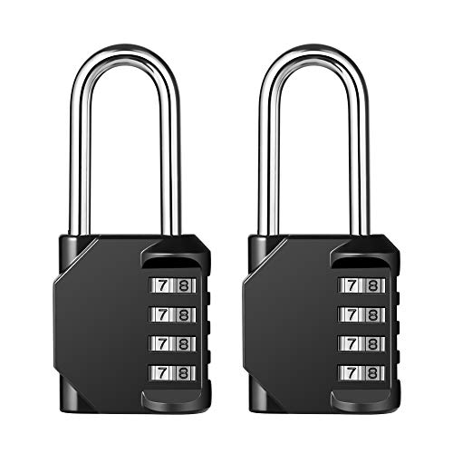 4 Digit Combination Lock 2.2 Inch Long Shackle and Outdoor Waterproof Resettable Padlock for Gym Locker, Hasp Cabinet, School, Fence, Toolbox (Black,Pack of 2)