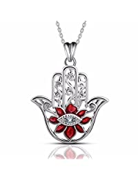 """EUDORA Hamsa Hand of Fatima Necklace for Women, 925 Sterling Silver Necklace Pendants Evil Eye Jewelry Best Gift for Woman Sisters Girlfriend,18"""""""