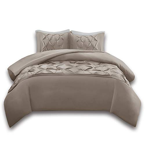 Comfort Spaces Cavoy 3 Piece King Duvet Cover Zipper Closure and Corner Ties Pinch Pleated Tufted Ultra Soft Microfiber Luxury Bedding-Set, Taupe