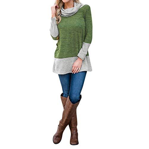 Femme col Couleur Vert Zhrui Sweat Blouse longues Vert Taille Blouse Placket Couleur shirt 16 Xluk Cn montant manches à AxYYq7n4w