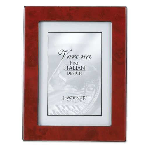 Lawrence Frames Faux Burl 5 by 7-Inch Picture Frame, Burgundy