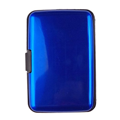 Water-Resistant Aluminum Pocket Business ID Credit Cards Wallet Holder Case Metal Box (Blue) by Bookear Card Case (Image #2)