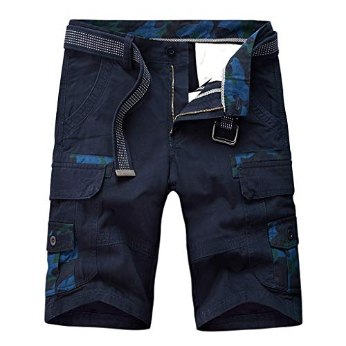 Nevera Men Fashion Casual Cotton Pocket Solid Outdoors Workout Cargo Short Pants Dark Blue