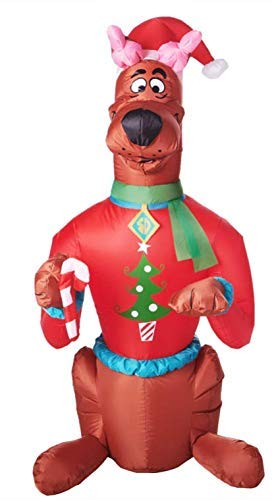 Christmas Inflatable Scooby Doo Santa's Elf Helper. Airblown Holiday Decoration Everyone's Favorite Cartoon Character. 5 Foot Tall Outdoor or Indoor Christmas Decoration Fun for the Whole Family