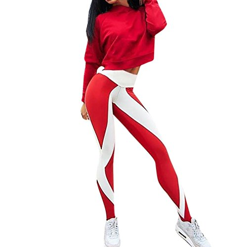 Basique Sport Amincissant de Taille Habit Haute Pantalons Nx022 Rouge SANFASHION Femme Mode de Legging Chic Yoga Fitness ISnwxfqpf