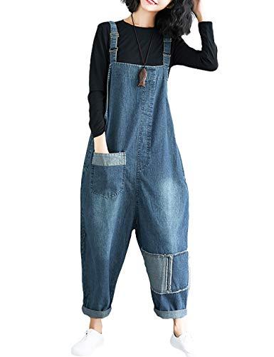 Innifer Womens Loose Baggy Cropped Harem Pants Denim Bib Overalls Jumpsuit Rompers