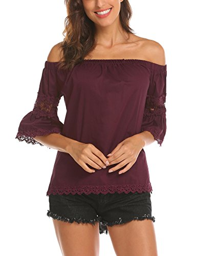 Dealwell Women's Sexy Off The Shoulder Tops Lace Trim Bell Sleeve Blouse T-Shirt