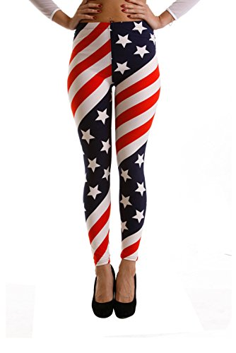 VIV Collection Regular Size Printed Brushed Ultra Soft Leggings (American Flag) -