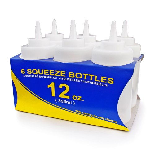 New Star 25965 Wide Mouth Plastic Squeeze Bottles, 12-Ounce, Clear, Set of - Condiment Bottles 12 Oz Squeeze