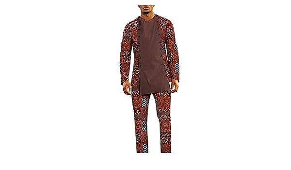 0508c338ba African Set for Men Customized Bazin Richi Full Sleeve Top+Full Length  Pants at Amazon Men s Clothing store