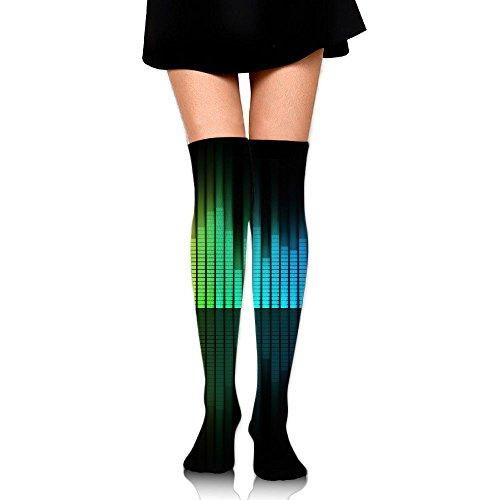 探検わずかな悪性の音楽 オーディオ ストッキング サイハイソックス 3D デザイン 女性男性 秋と冬 フリーサイズ 美脚 かわいいデザイン 靴下 足元パイル ハイソックス メンズ レディース ブラック