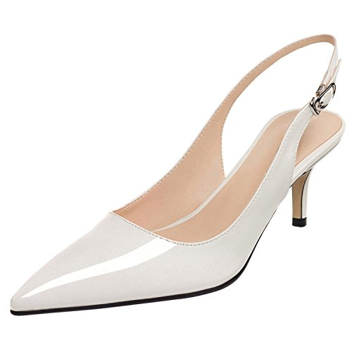 Jushee Kitten High Heels Pumps for Women Court Shoes Pointed Toe Slingback Patent Sandales White r29WlbY2Q9