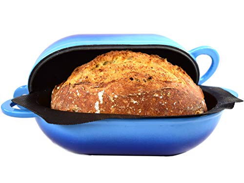 LoafNest: Incredibly Easy Artisan Bread Kit. Cast Iron Dutch Oven and Non-Stick Perforated Silicone Liner [Blue Gradient].