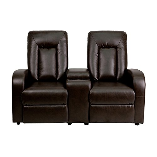 Offex OF-BT-70259-2-BRN-GG 2-Seat Home Theater Recliner with Storage Console, Brown - Executive Home Theater Sofa
