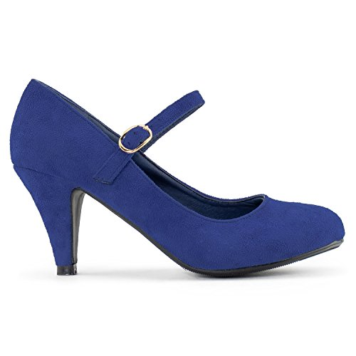 Work Shoes Jane Pumps Women's Mary Heel Faux Suede Mid Dress Blue q6xqtwO0