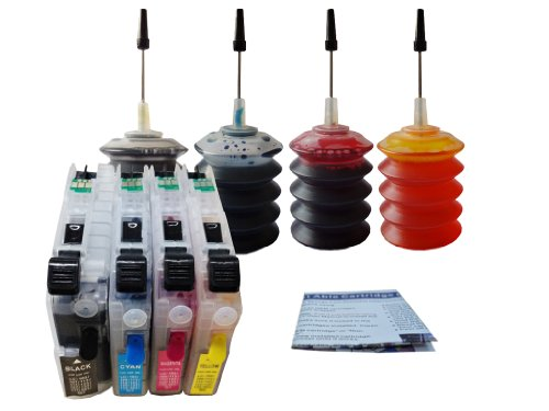 ND Brand Compatible Pre-filled Brother LC101 LC103 LC105 LC107 Refillable Ink Cartridges with Auto Reset Chips and 4 X 30ml Dye Ink Refill Kit for BROTHER MFC J470DW, J475dw, J4310DW, J4410DW, J4510DW, J4610DW, J4710DW Printers