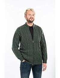 SAOL 100% Merino Wool Mens Zipper Cardigan