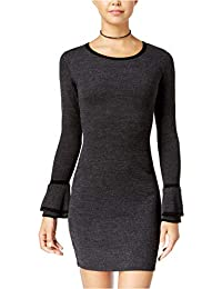 ea2190b3d0 Womens Juniors Bell-Sleeve Bow-Back Sweater Dress Black