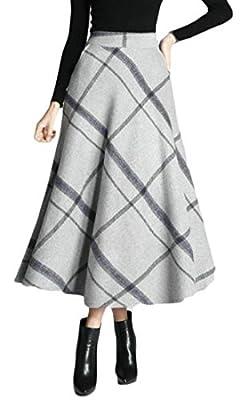 Lutratocro Women's Winter Plaid Swing Woolen High Rise Stylish Long Skirt