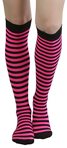 Pink And Black Striped Socks - 2