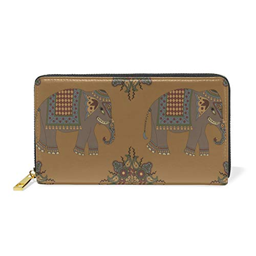 Africa Cute Elephant Wallet for Women Leather Zipper Phone Coin Purse by Nigbin