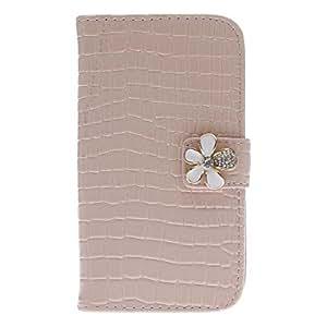 Elegant Rhinestone Flower Design Alligator Grain Leather Case for Samsung Galaxy S4 I9500