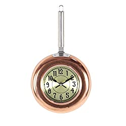 Deco 79 98434 Copper Frying Pan-Inspired Iron Wall Clock, 14 x 8, Silver/Black/Gold