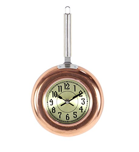 Deco 79 98434 Copper Frying Pan-Inspired Iron Wall Clock, 14