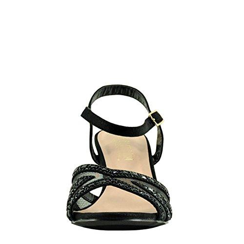 Heel Peep Crystal Embellished Mesh Toe Blossom Vero Black Womens 55 WHOSaO8nZ