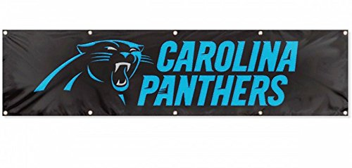 Carolina Panthers NEW LOGO Huge 8x2 Embroidered Applique Flag Outdoor Indoor House Banner (Carolina Panthers Applique Banner)