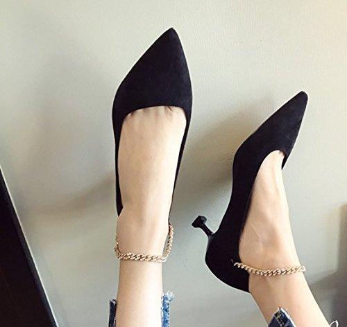 zapatos Moda Retro Todo un 5cm Punto Los superficial negro 35 zapatos Los fino match Transpirable Ajunr Ocio Con Sandalias elegante 38 talones Boca pWxfqA0d