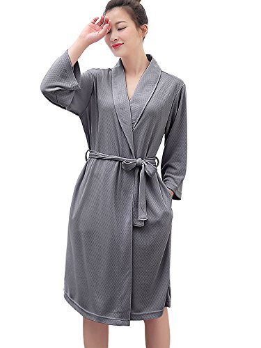 Summer Weight Womens - Womens Robe Lightweight Cotton Bathrobe Kimono Knee Length Spa Plus Size Soft Hotel Robes for Ladies (Large/X-Large, Grey)