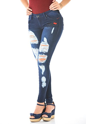 Pocket Apple Skinny Jean (Curvify Blue Low Rise Ripped Skinny Jeans For Women - Pantalones Colombianos Levanta Cola Jeans 2465)
