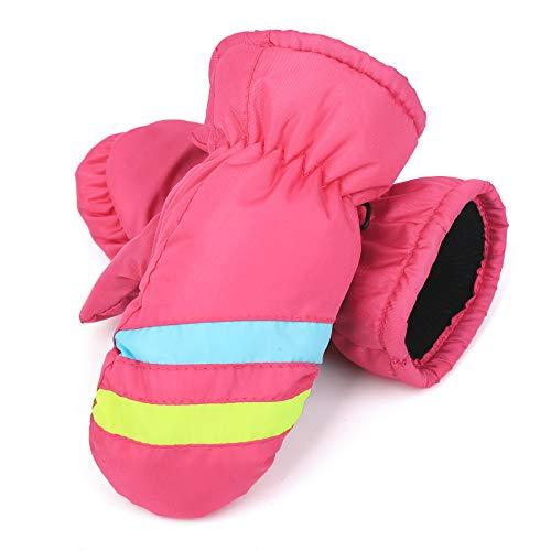 Flammi Kids Snow Mittens Winter Ski Mittens Water Resistant Fleece Lined (Pink)