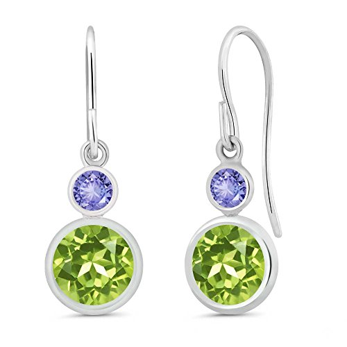 Gem Stone King 2.04 Ct Round Green Peridot Blue Tanzanite 925 Sterling Silver Earrings ()