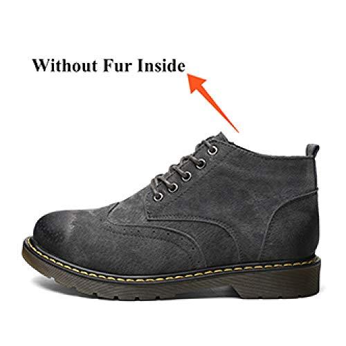Martin Peluche Zapatos Calzado Botas Cuero Cómodo De Suave Hombre Cálido Adultos Fhcgmx Grises Para Negocios Invierno F7qdRfwqx