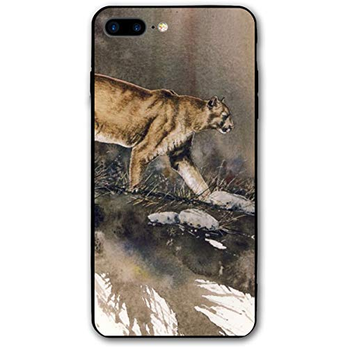 Xianjing iPhone 7 Plus Case/iPhone 8 Plus Case Cougar Cheetah Grass Anti-Scratch PC Rubber Cover Lightweight Slim Printed Protective Case -