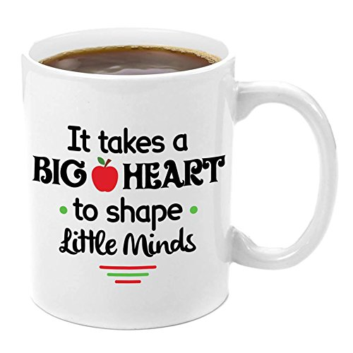 Teacher Appreciation Ceramic Coffee Mug - It Takes a Big Heart to Shape Little Minds Coffee Mug 11 oz. Perfect for Teachers Gifts, Best Christmas Gifts for Teachers, Teacher Assistant, Appreciation]()