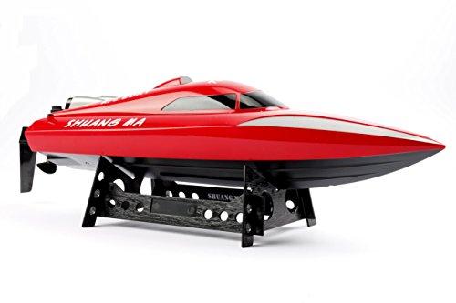 B015001 2.4 GHz RC Boot Schiff Rennboot RC Schnellboot ferngesteuertes Boot 7,4 V 1100 mAh Lipo Akku bis 30 km/h Spitzengeschwindigkeit High-Speed Boot 46 cm lang RTR (Rot)