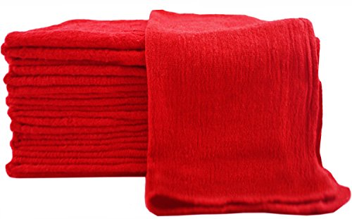 Utopia Towels Shop Towel Towels (Pack of 100) (13 x 13 Inches) Commercial Grade Machine Washable Cotton Washcloths Lint Free White Shop Rag - Perfect for Auto Mechanic Work and Bar Mop (Red)
