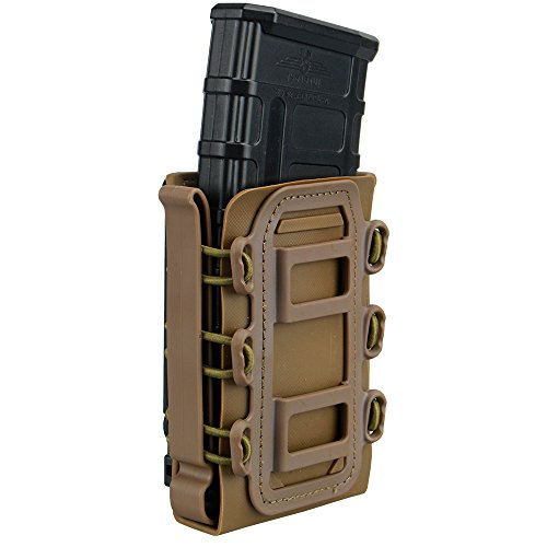 IDOGEAR 5.56mm 7.62mm Tactical Magazine Pouch Airsoft Hunting Shooting Molle Fastmag Soft Shell Mag Carrier Bag (Coyote Brown)