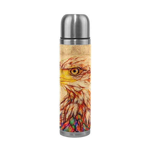 Steel Thermos Stainless Eagles (My Daily Vintage Bald Eagle Vacuum Insulated Double Walled Stainless Steel Water Bottle Leak Proof Thermos Flask 17 oz)